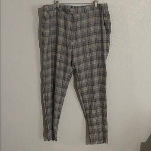 BarIII Gray Plaid Dress Pants
